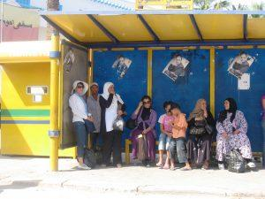 Women at the city bus station, Tunis, Tunisia
